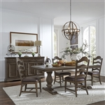 Homestead Trestle Table Ladder Back Side Chair 5 Piece Dining Set in Burnished Sage Finish by Liberty Furniture - LIB-693-DR-5TRS