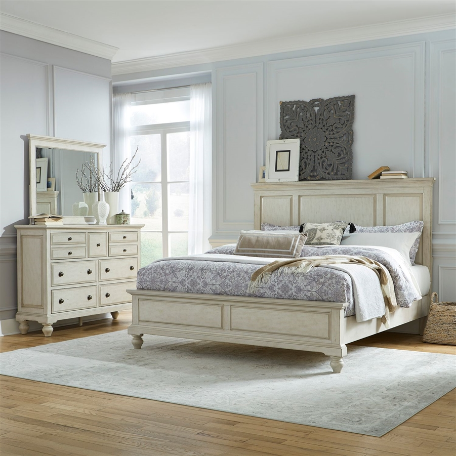 High Country Panel Bed 6 Piece Bedroom Set in White Finish by Liberty  Furniture - 697-BR-QPBDMN