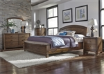 Avalon Panel Storage Bed 6 Piece Bedroom Set in Pebble Brown Finish by Liberty Furniture - 705-BR-QPBSDMN