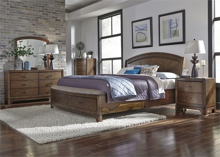 Elegant Avalon Panel Storage Bed 6 Piece Bedroom Set In Pebble Brown Finish By  Liberty Furniture   705 BR QPBSDMN