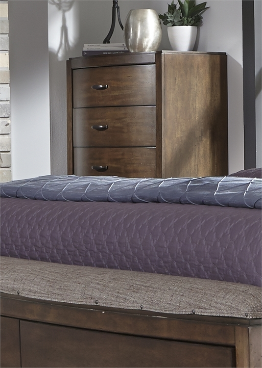 Avalon Panel Storage Bed Piece Bedroom Set In Pebble Brown