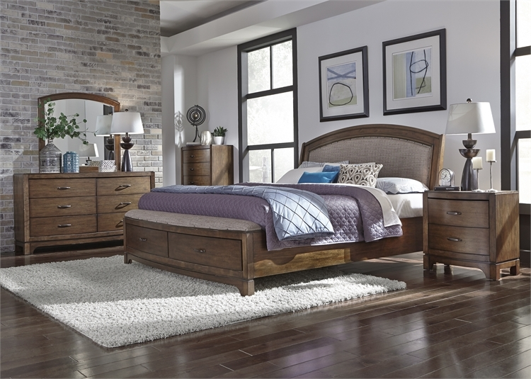 Avalon Upholstered Storage Bed in Pebble Brown Finish by Liberty ...