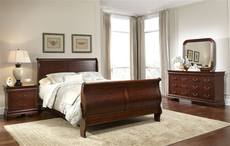 Carriage Court Sleigh Bed 6 Piece Bedroom Set In Mahogany