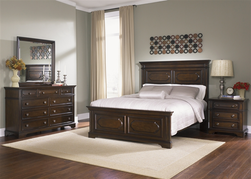 Carrington Panel Bed 6 Piece Bedroom Set In Cherry Finish By Liberty Furniture 717 Br13