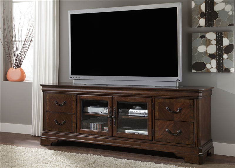 Alexandria 82 Inch Tv Stand In Autumn Brown Finish By Liberty Furniture 722 Tv00
