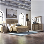 The Laurels Panel Bed 6 Piece Bedroom Set in Weathered Stone Finish by Liberty Furniture - 725-BR-OQPBDMN