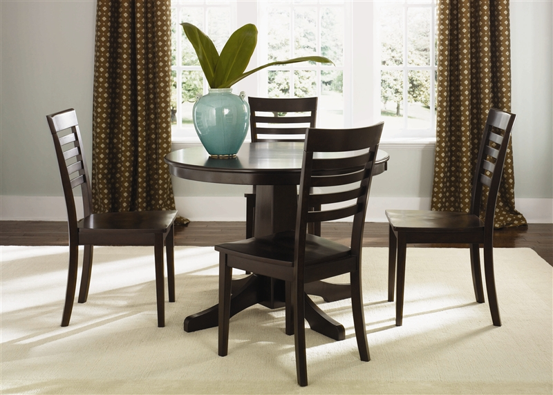 Cafe Collections Round Pedestal Table 3 Piece Dining Set In Merlot Finish  By Liberty Furniture   73 T4242