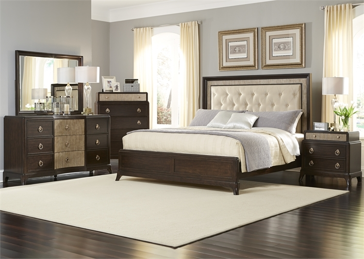 Ordinaire Manhattan Upholstered Panel Bed 6 Piece Bedroom Set In Sable And Champagne  Finish By Liberty Furniture ...