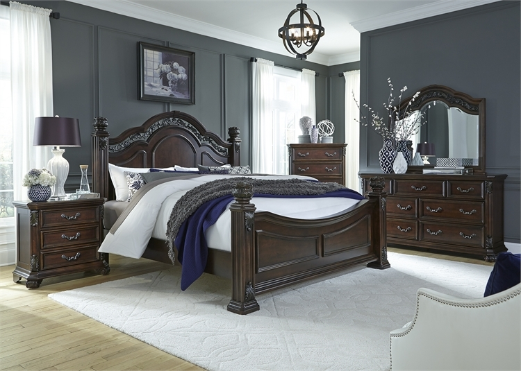 Messina Estates Poster Bed 6 Piece Bedroom Set in Cognac Finish by ...