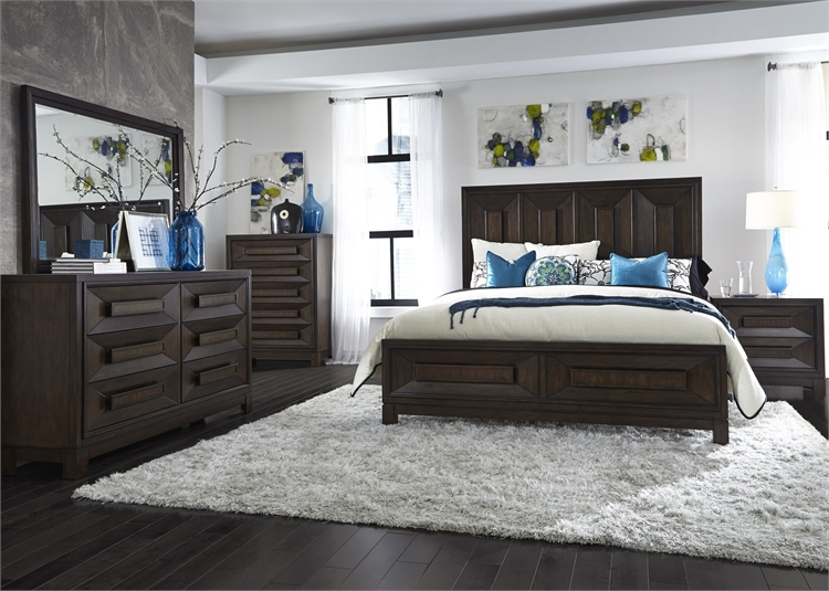 Panel Bed 6 Piece Bedroom Set in Coffee Bean Finish by Liberty ...