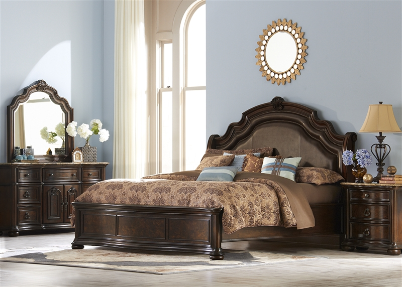 Le Grande Platform Bed 6 Piece Bedroom Set In Rich Nutmeg Finish By