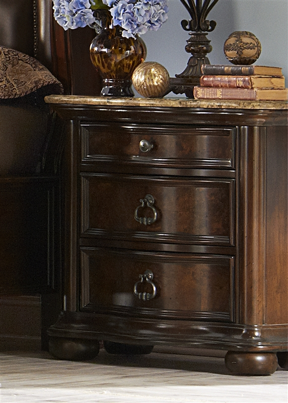 Le Grande Marble Top Nightstand In Rich Nutmeg Finish By Liberty Furniture 766 Br61