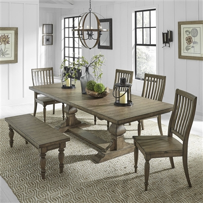 Harvest Home Trestle Table 6 Piece Dining Set in Barley Brown Finish by Liberty Furniture - LIB-779-DR-6TRS