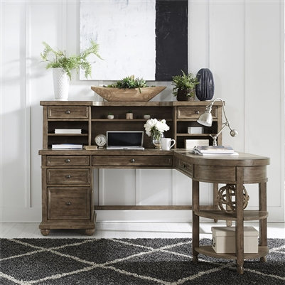 Harvest Home L Shaped Desk with Hutch in Barley Brown Finish by Liberty Furniture - 779-HO-LSD