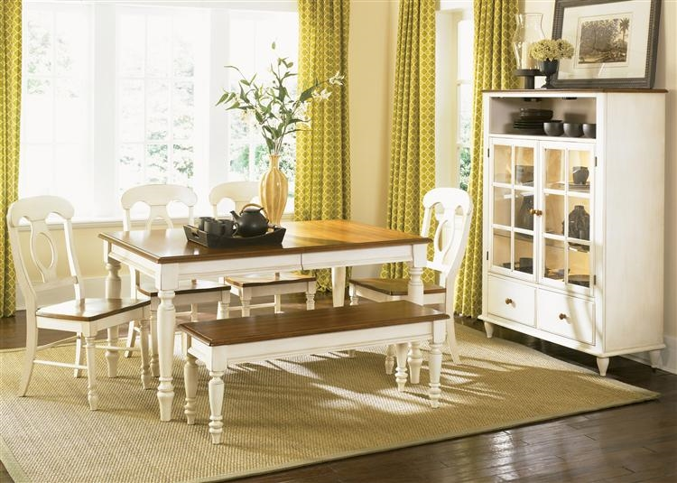 Low Country Napoleon Chair 6 Piece Rectangular Leg Table Set in Linen Sand  with Suntan Bronze Finish by Liberty Furniture - 79-T3876-6NC
