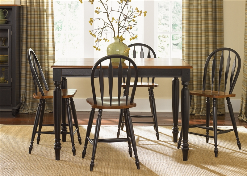 Country Dining Sets country gathering table 5 piece set in anchor black with suntan
