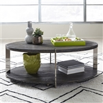 Paxton Oval Cocktail Table in Charcoal Finish by Liberty Furniture - 801-OT1010