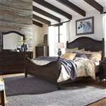 Catawba Hills Poster Bed 6 Piece Bedroom Set in Peppercorn Finish by Liberty Furniture - 816-BR-QPSDMN
