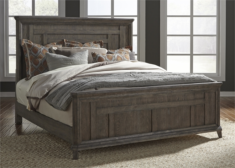 Prairie Panel Bed In Wirebrushed Aged Oak Finish By Liberty Furniture 823 Br Qpb