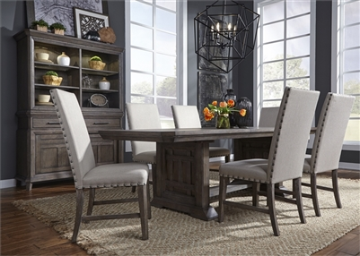 Artisan Prairie Trestle Table 5 Piece Dining Set in Wirebrushed Aged Oak Finish by Liberty Furniture - 823-DR-5TRS