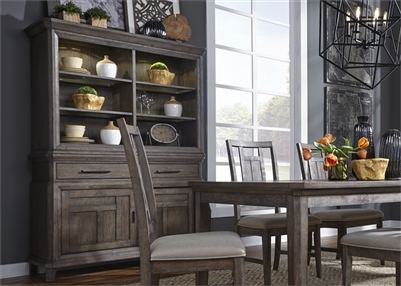 Artisan Prairie Sliding Door Buffet and Hutch in Wirebrushed Aged Oak Finish by Liberty Furniture - 823-DR-HB