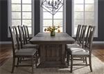 Artisan Prairie Trestle Table 5 Piece Dining Set in Wirebrushed Aged Oak Finish by Liberty Furniture - 823-DR-O5TRS