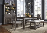 Artisan Prairie Rectangular Leg Table 6 Piece Dining Set in Wirebrushed Aged Oak Finish by Liberty Furniture - 823-DR-O6RTS