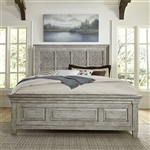 Heartland Artisan Prairie Panel Bed in Antique White Finish with Tobacco Tops by Liberty Furniture - 824-BR-OQPB