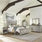 Heartland Artisan Prairie Panel Bed 6 Piece Bedroom Set in Antique White Finish with Tobacco Tops by Liberty Furniture - 824-BR-OQPBDMN
