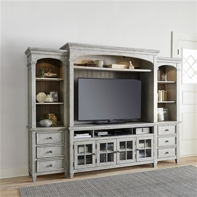 Heartland 4 Piece Entertainment Wall in Antique White Finish by Liberty Furniture - 824-ENTW-ECP