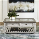 Heartland Rectangular Ceiling Tile Cocktail Table in Antique White Finish by Liberty Furniture - 824-OT1010