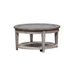 Heartland Round Ceiling Tile Cocktail Table in Antique White Finish by Liberty Furniture - 824-OT1012