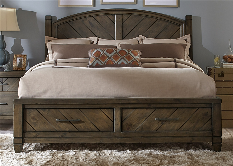 Modern Country Storage Bed 6 Piece Bedroom Set in Smokey Pewter Finish by  Liberty Furniture - 833-ST