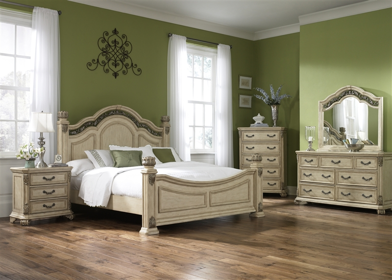 Messina Estates II Poster Bed 6 Piece Bedroom Set in Antique Ivory Finish  by Liberty Furniture - 837-BR