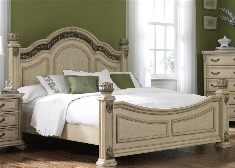 Messina Estates II Poster Bed 6 Piece Bedroom Set in Antique Ivory ...