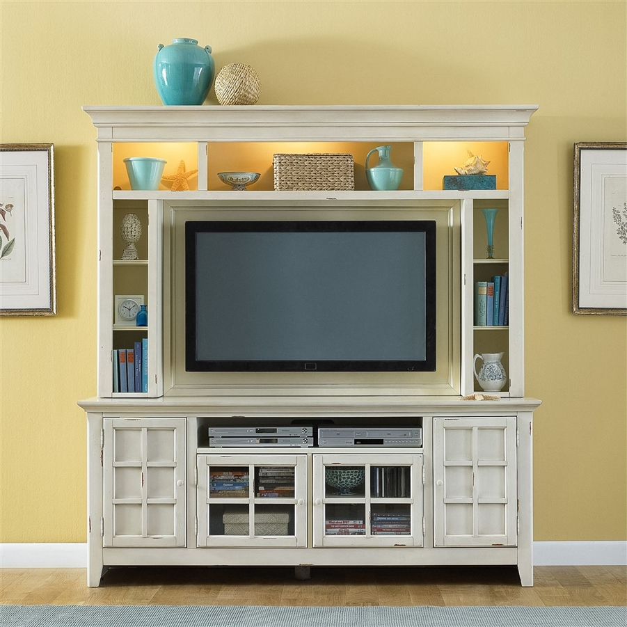 New Generation 50 Inch Tv Entertainment Center In Vintage White Finish By Liberty Furniture 840 Ent