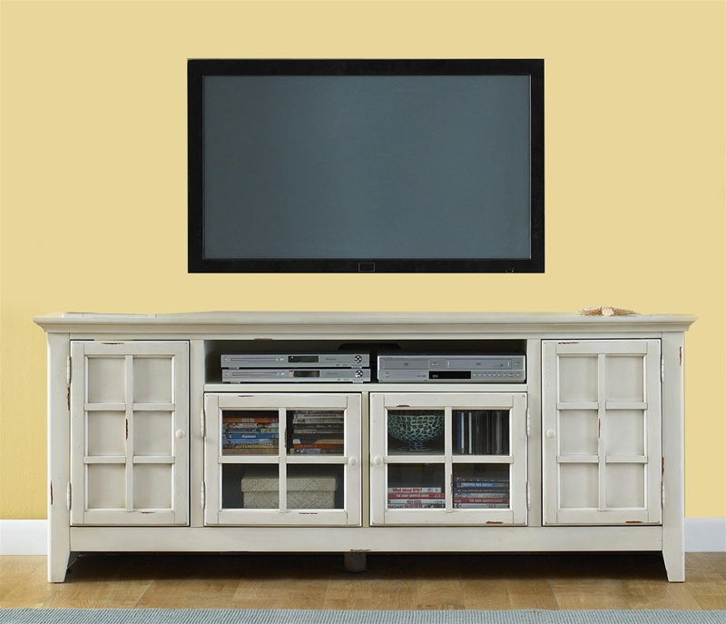 New Generation 75 Inch TV Stand In Vintage White Finish By Liberty Furniture    840 TV00