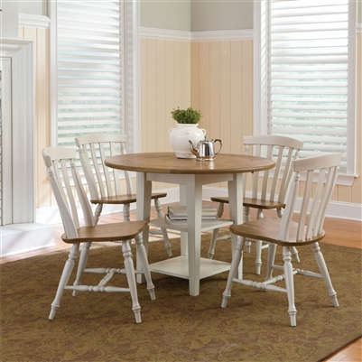 Al Fresco Drop Leaf Leg Table 5 Piece Dining Set in Driftwood & Sand White Finish by Liberty Furniture - 841-CD-5DLS