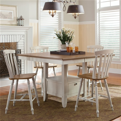 Al Fresco Gathering Table 5 Piece Counter Height Dining Set in Driftwood & Sand White Finish by Liberty Furniture - 841-CD-5GTS