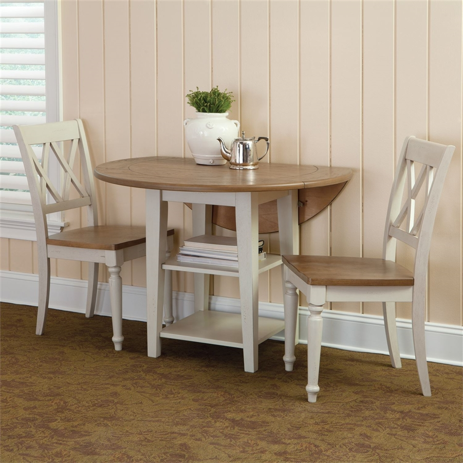 Al Fresco Drop Leaf Leg Table 9 Piece Dining Set in Driftwood & Sand White  Finish by Liberty Furniture   9 CD O9DLS
