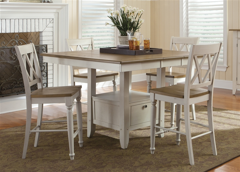 Medium image of al fresco gathering table 5 piece counter height dining set in driftwood  u0026 sand white finish by