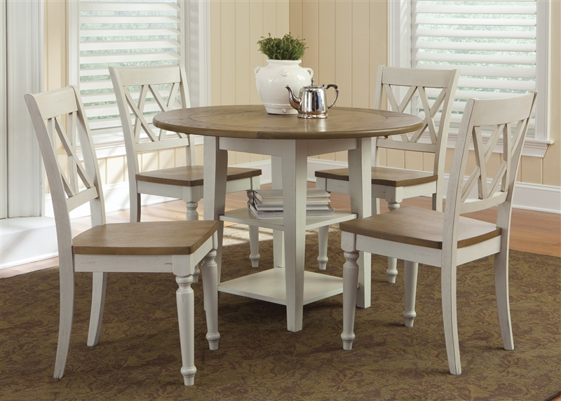 Al Fresco Drop Leaf Leg Table 5 Piece Dining Set In Driftwood Sand White Finish By Liberty Furniture 841 T4242