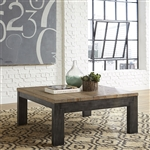 Rutland Grove Square Cocktail Table in Two Tone Charcoal and Desert Finish by Liberty Furniture - 853-OT1010