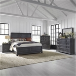 Harvest Home Panel Bed 6 Piece Bedroom Set in Chalkboard Finish by Liberty Furniture - 879-BR-QPBDMN