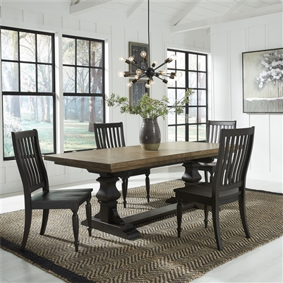 Harvest Home Trestle Table 5 Piece Dining Set in Chalkboard Finish by Liberty Furniture - LIB-879-DR-5TRS