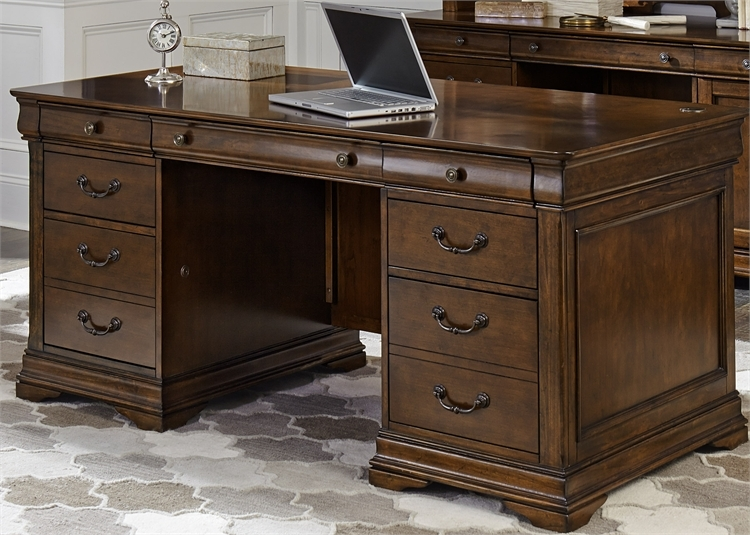 Cau Valley Jr Executive Desk In Brown Cherry Finish By Liberty Furniture 901 Hoj Jed