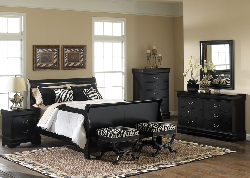 Carrington Sleigh Bed 6 Piece Bedroom Set in Black Finish by Liberty  Furniture - 907-BR