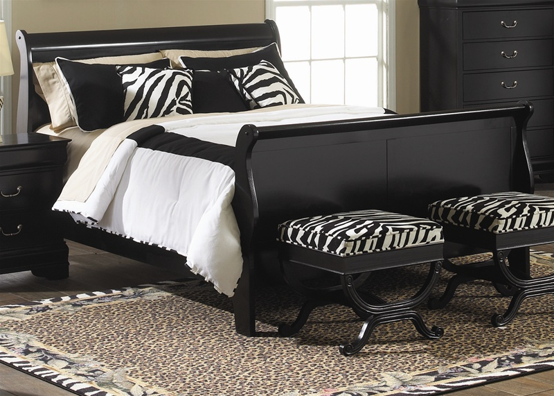 Carrington Sleigh Bed 4 Piece Twin Bedroom Set in Black Finish by Liberty  Furniture - 907-BR11
