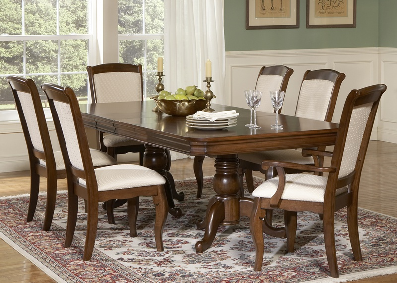 Philippe Double Pedestal Table 7 Piece Dining Set in Cherry Finish ...