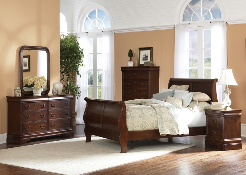 Philippe Sleigh Bed 6 Piece Bedroom Set in Brown Cherry Finish by ...